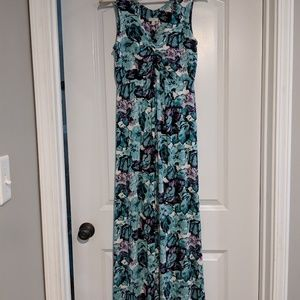 Talbots teal and lavendar floral maxi dress size S